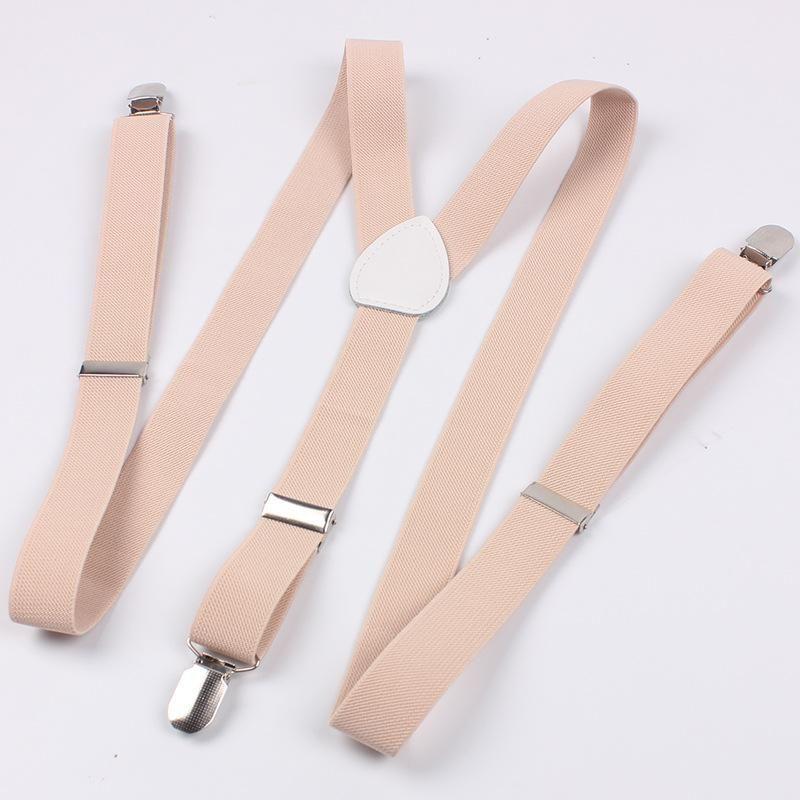 Fashion Elastic Suspenders Adjustable Braces Y-Shape Clip-on Beige For Women Men