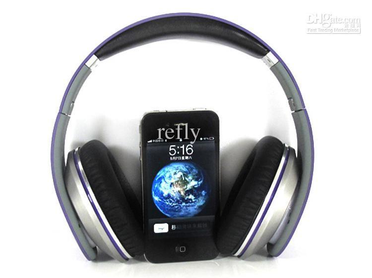 Wholesale - High quality dre Studio Headphones Purple with Signature