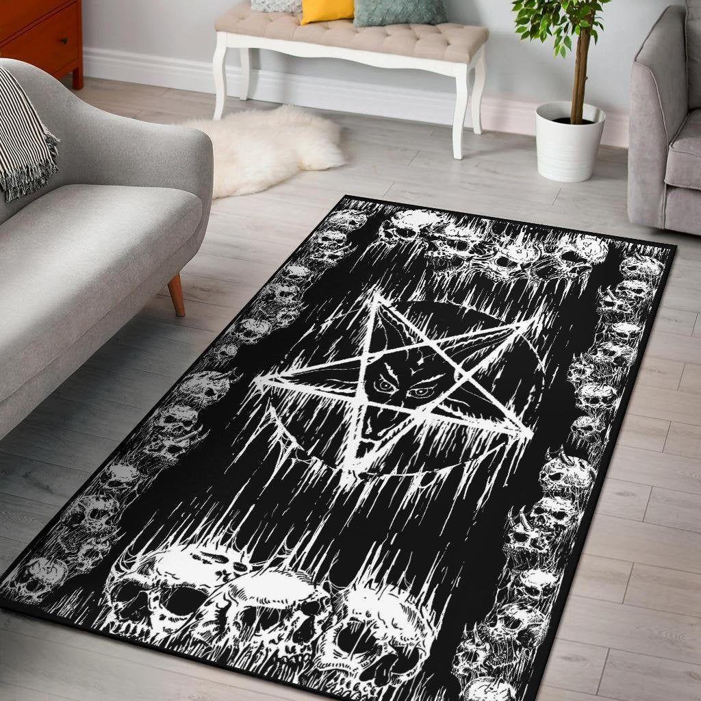 Satanic Skull Melting Inverted Pentagram Area Rug Satanic Decor
