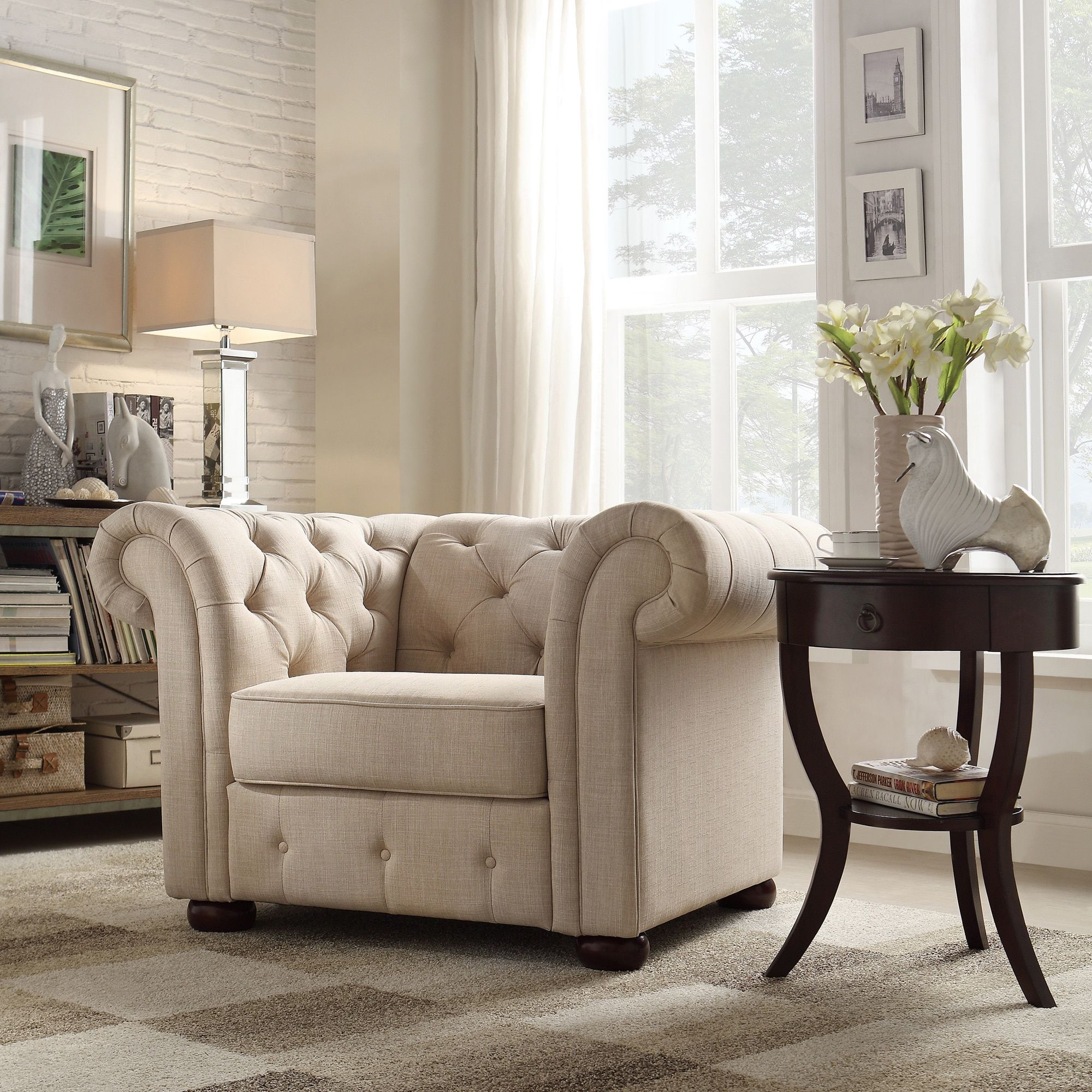 Knightsbridge Beige Linen Tufted Scroll Arm Chesterfield Chair by