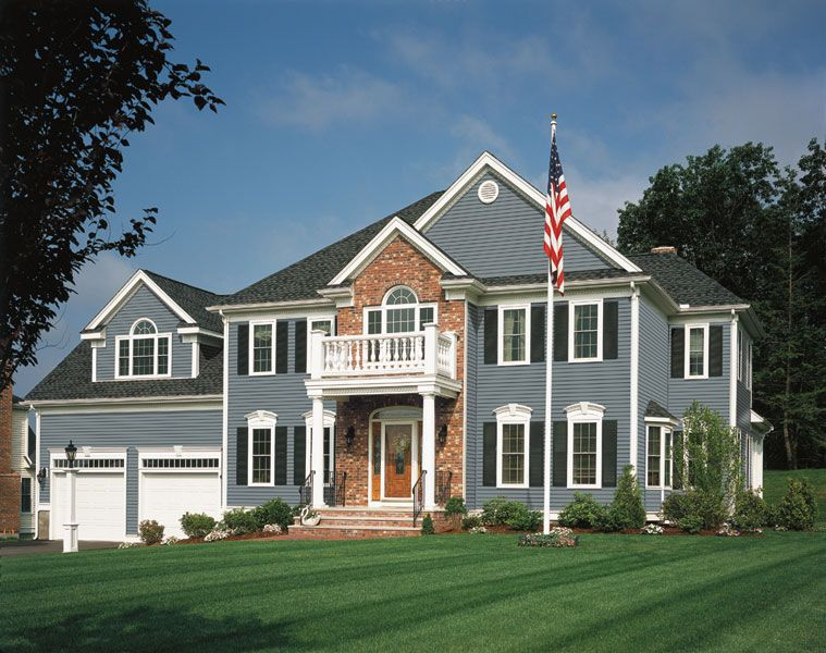 Allura Fiber Cement Siding Flagstone With White Trim And Black Shutters Cladding Covering Wood Alternati Siding Colors For Houses House Siding Blue Siding