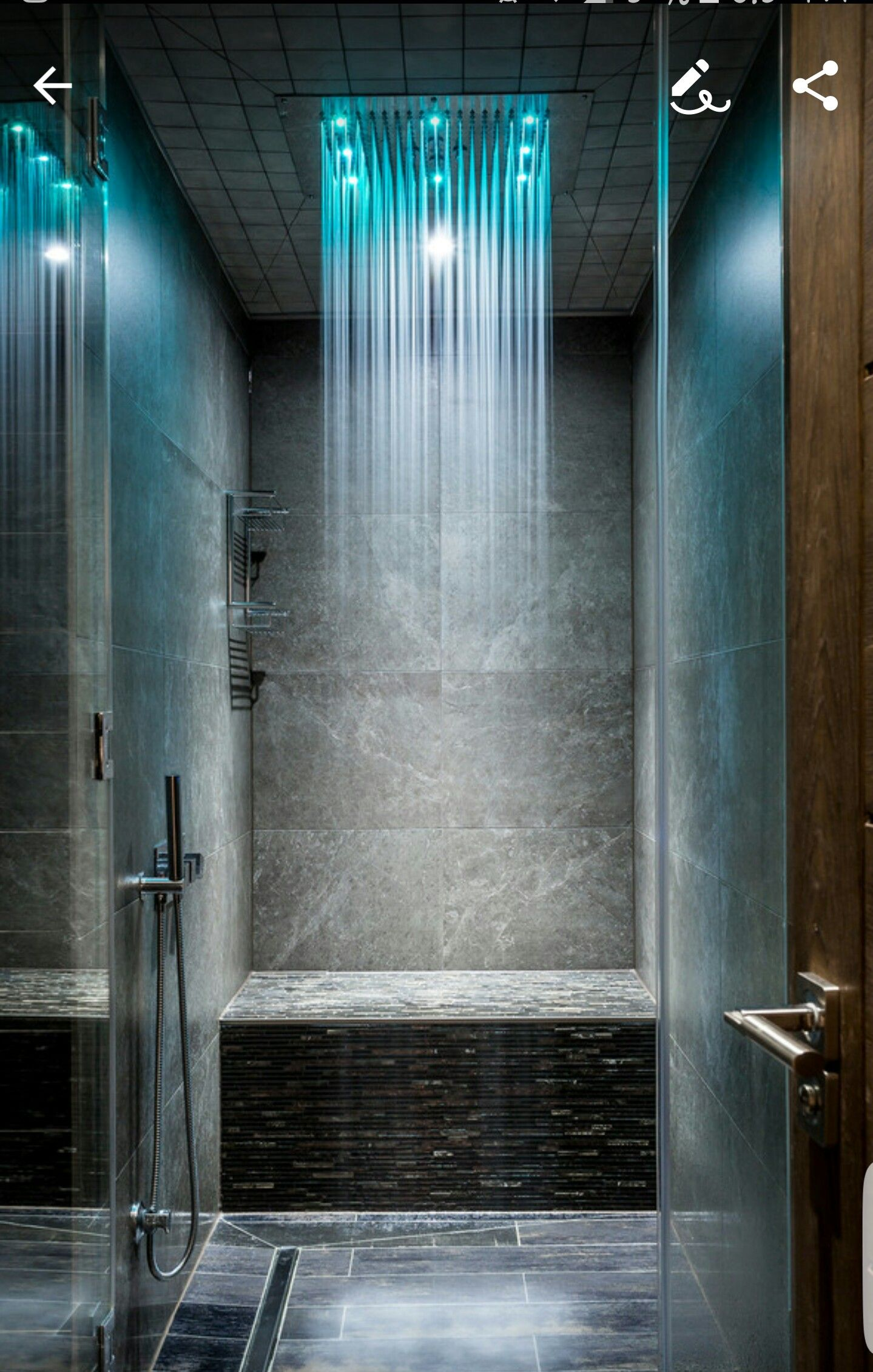 Perfect small but luxe shower with stone and a rainfall ... on cool industrial kitchen design, small bathroom shower tile design, double shower bathroom design, hgtv bathroom design, steel industrial kitchen interior design, open plan bathroom design, industrial bathroom design, japanese soaking tub bathroom design, bathroom steam shower room design,