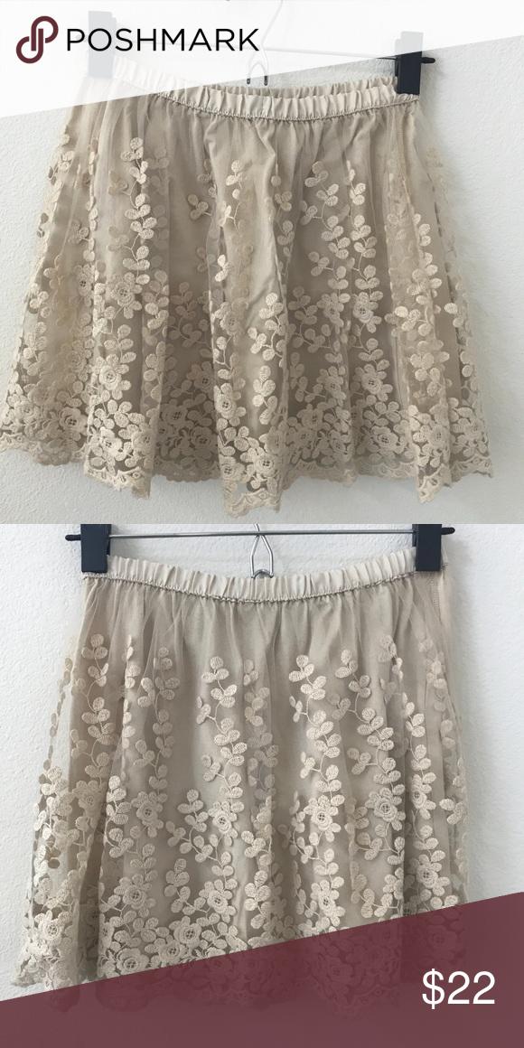944777511 Zara Kids Tulle Embroided Gold Mini Skirt Girls size 11/12 (152cm) Zara  Bottoms Skirts