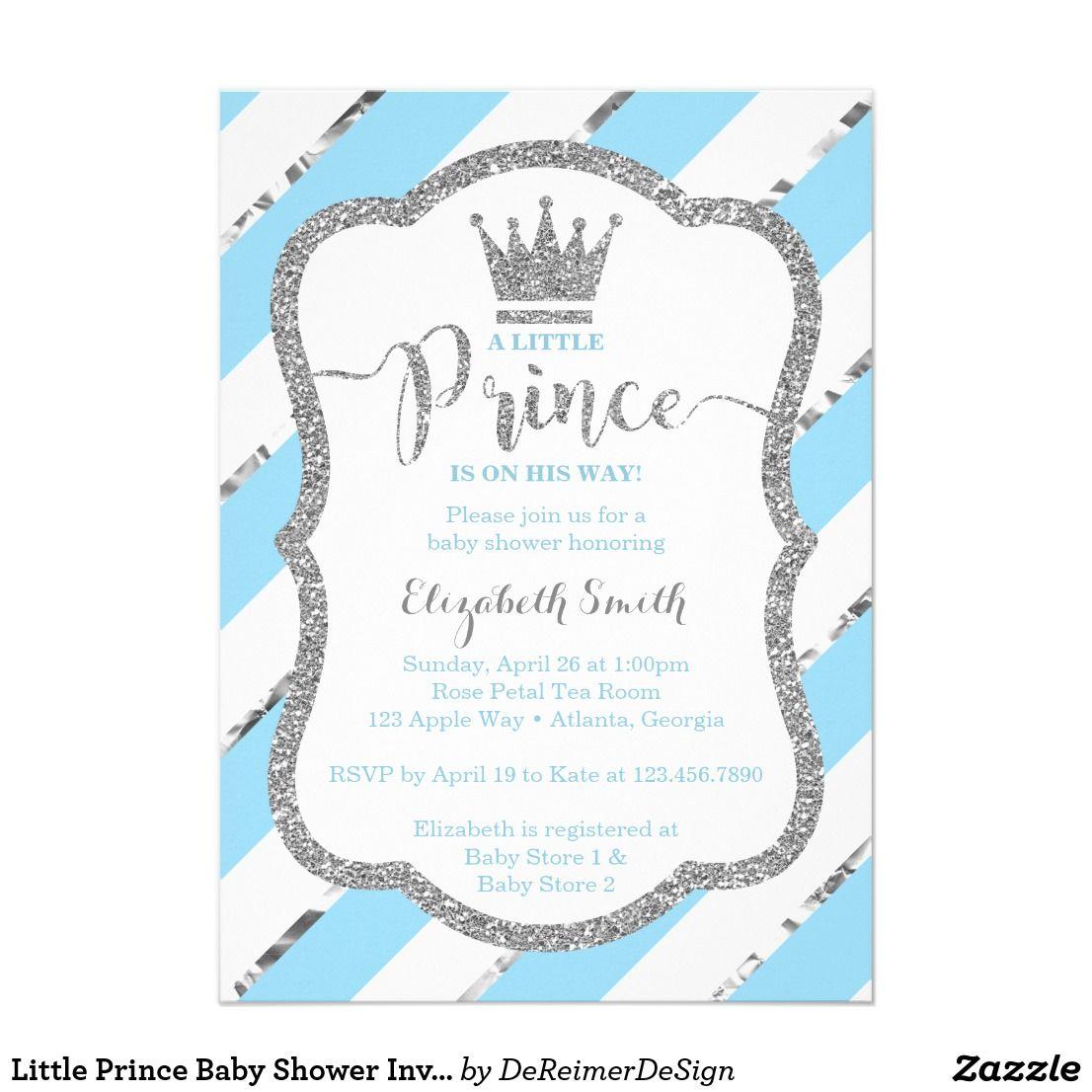 Little Prince Baby Shower Invite Faux Glitter Invitation