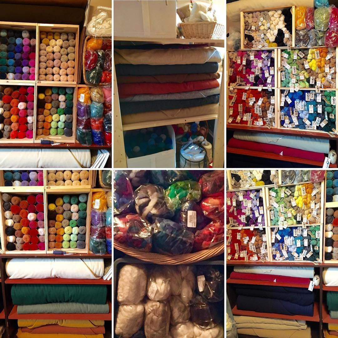 Our small stockroom … because someone asked!! Just remember, this doesn't include the raw fleeces waiting to be cleaned and posted!! #wool #fibre #louetnorthamerica #spinningwool #EPiC #exoticfibre #woolrichwoolenmills #woolfabric #fabric #gaywooldyes #treenwaysilks #silk #linen