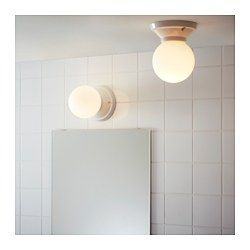 Ikea VitemÖlla Ceiling Wall Lamp Gives A Diffused Light Which Is Good For Spreading Into Larger Areas Of Bathroom