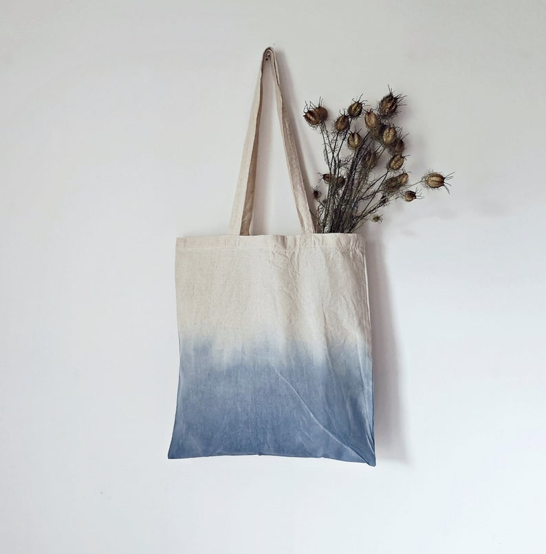 Download Indigo Ombre Tote Bag Iv Hand Dyed Indigo Bag Blue Bag Etsy In 2020 Hand Dyed Indigo Indigo Bag Hand Dyeing
