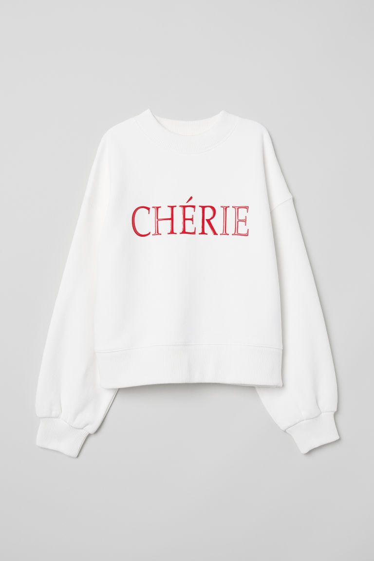 Oversized Sweatshirt White Cherie Ladies H M Us Sweatshirts Oversized Sweatshirt Sweatshirt Fabric [ 1152 x 768 Pixel ]