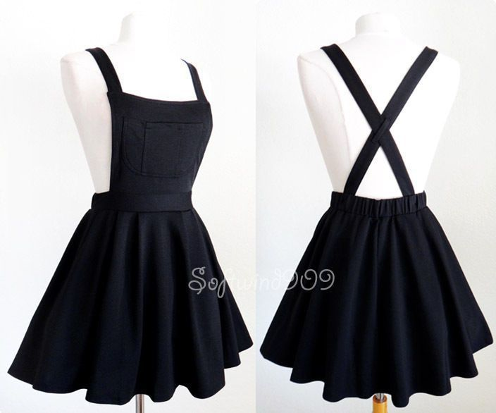 NEW Black Soft Knit Crisscross Suspender High Waisted Pleated CUTE Overall Skirt #retroideas