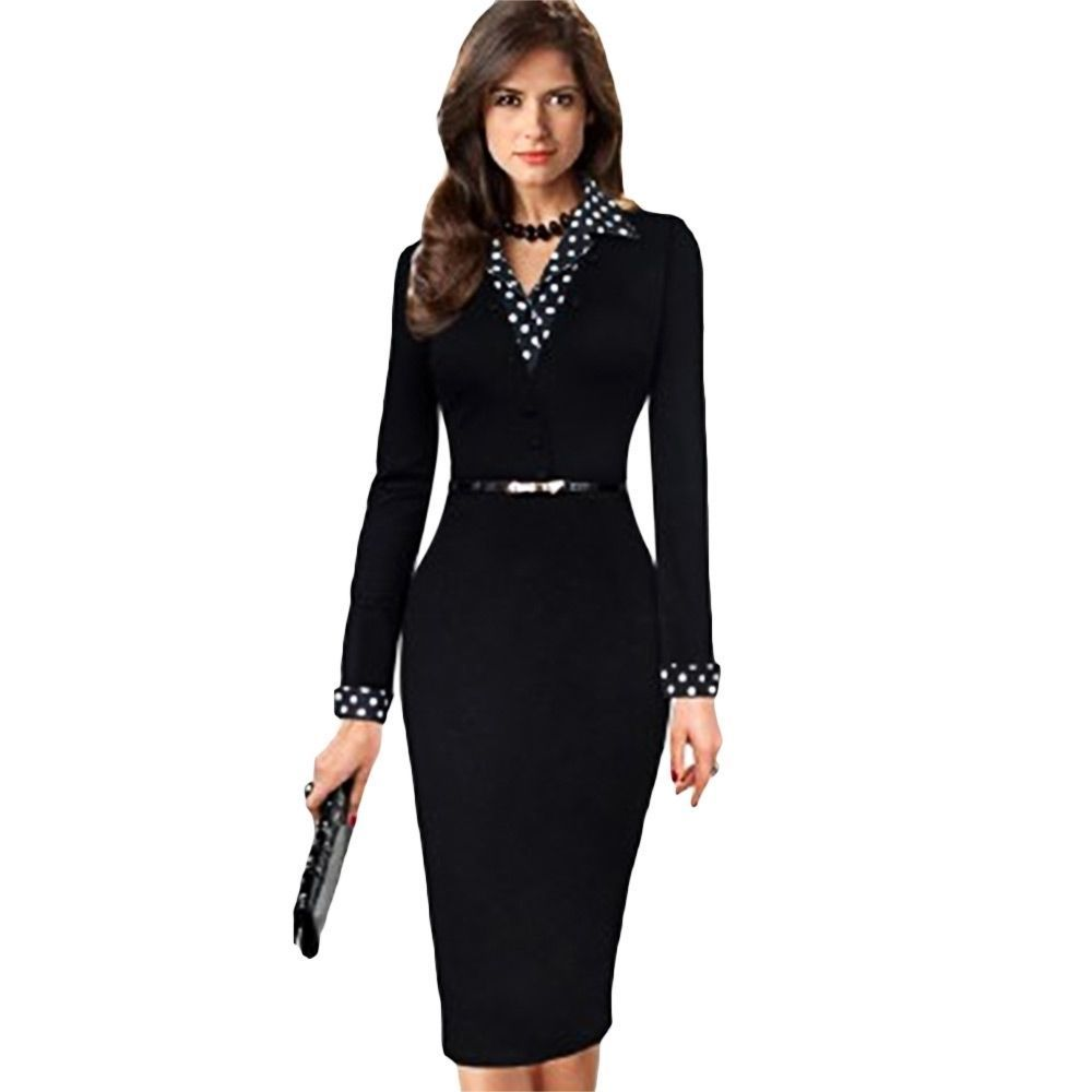 450c903d5a2c Ol Women Long Sleeve Formal Bodycon Pencil Dress Slim Office Lady Work Wear