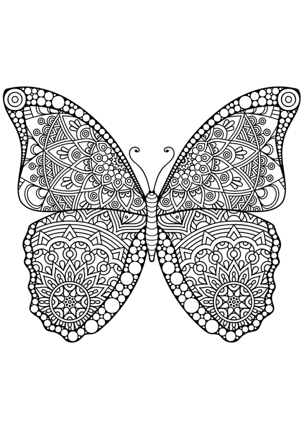 Dibujo Para Colorear Mandala De Una Mariposa Mandalas Y Dibujos