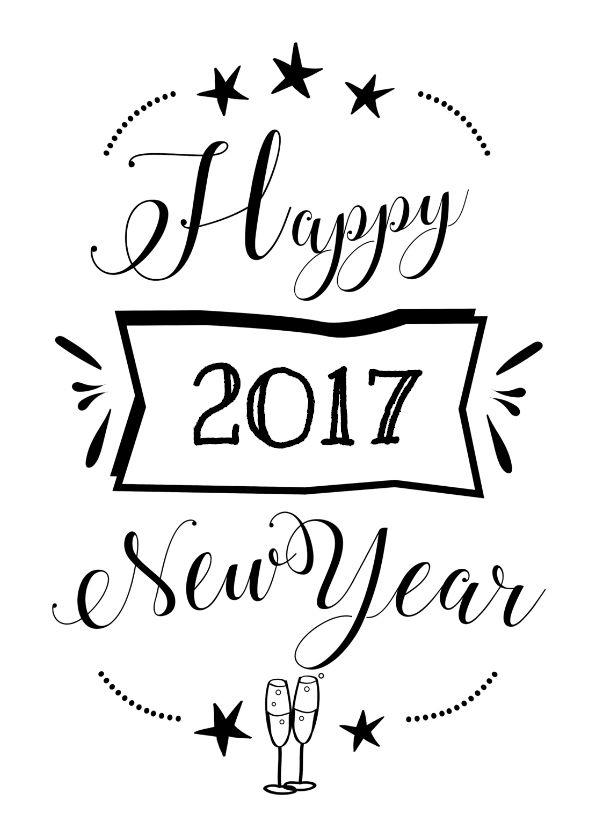 Happy 2017 new year zwart wit, verkrijgbaar bij #kaartje2go voor € 1,89