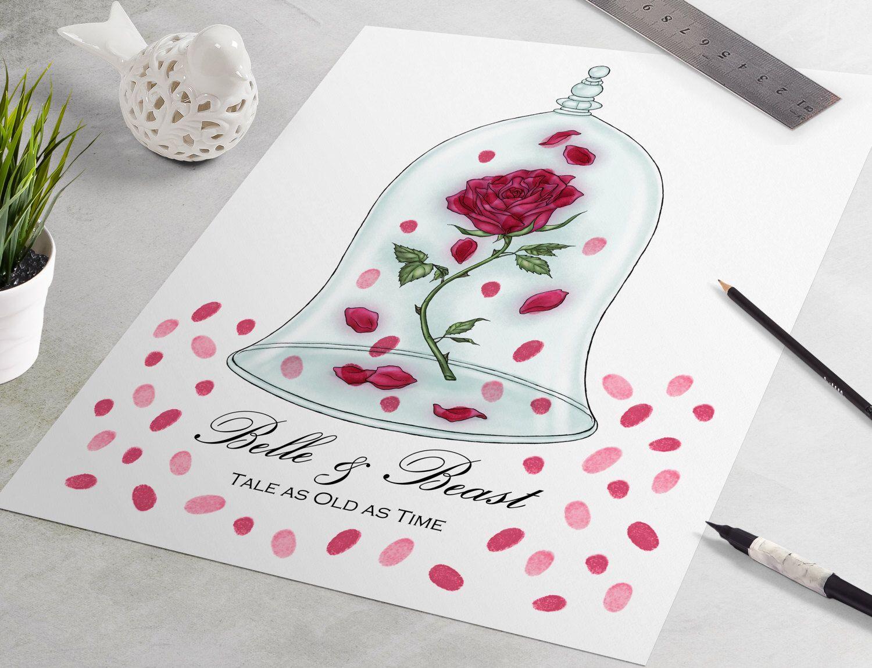 Wedding Guest Book Disney Guestbook Beauty And The Beast Fingerprint Tree