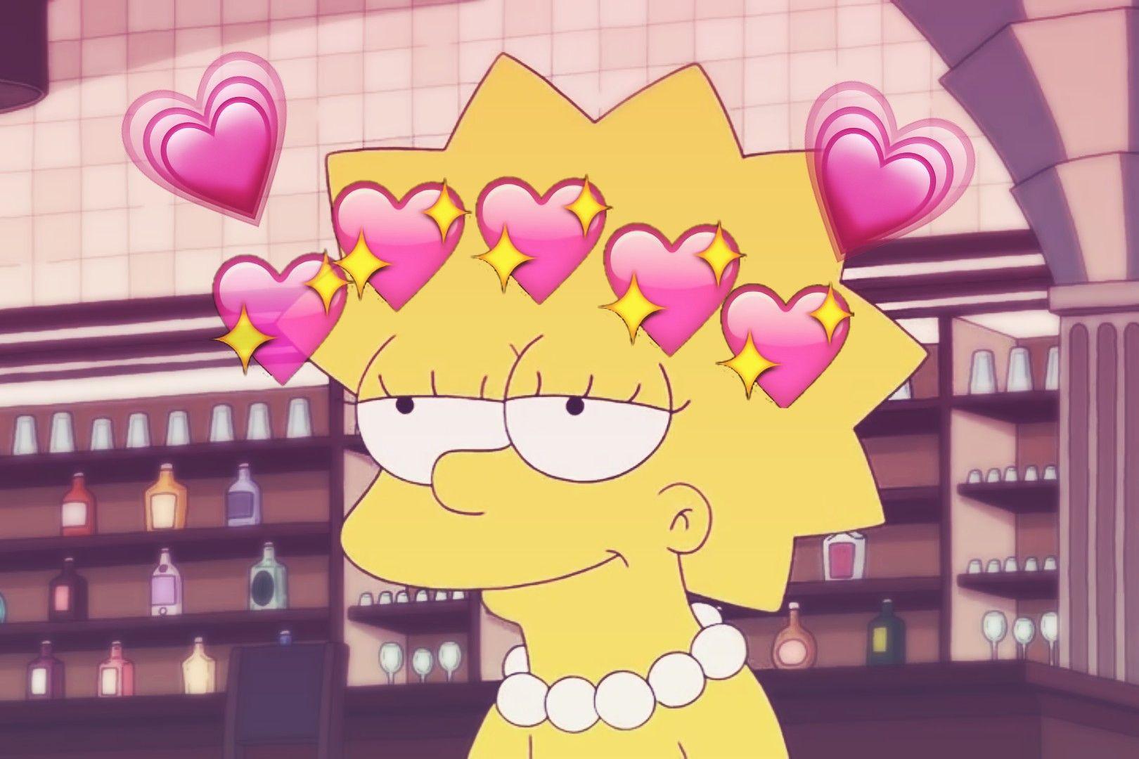 Lisa Simpson Pink Heart .2 Papéis de parede engraçados