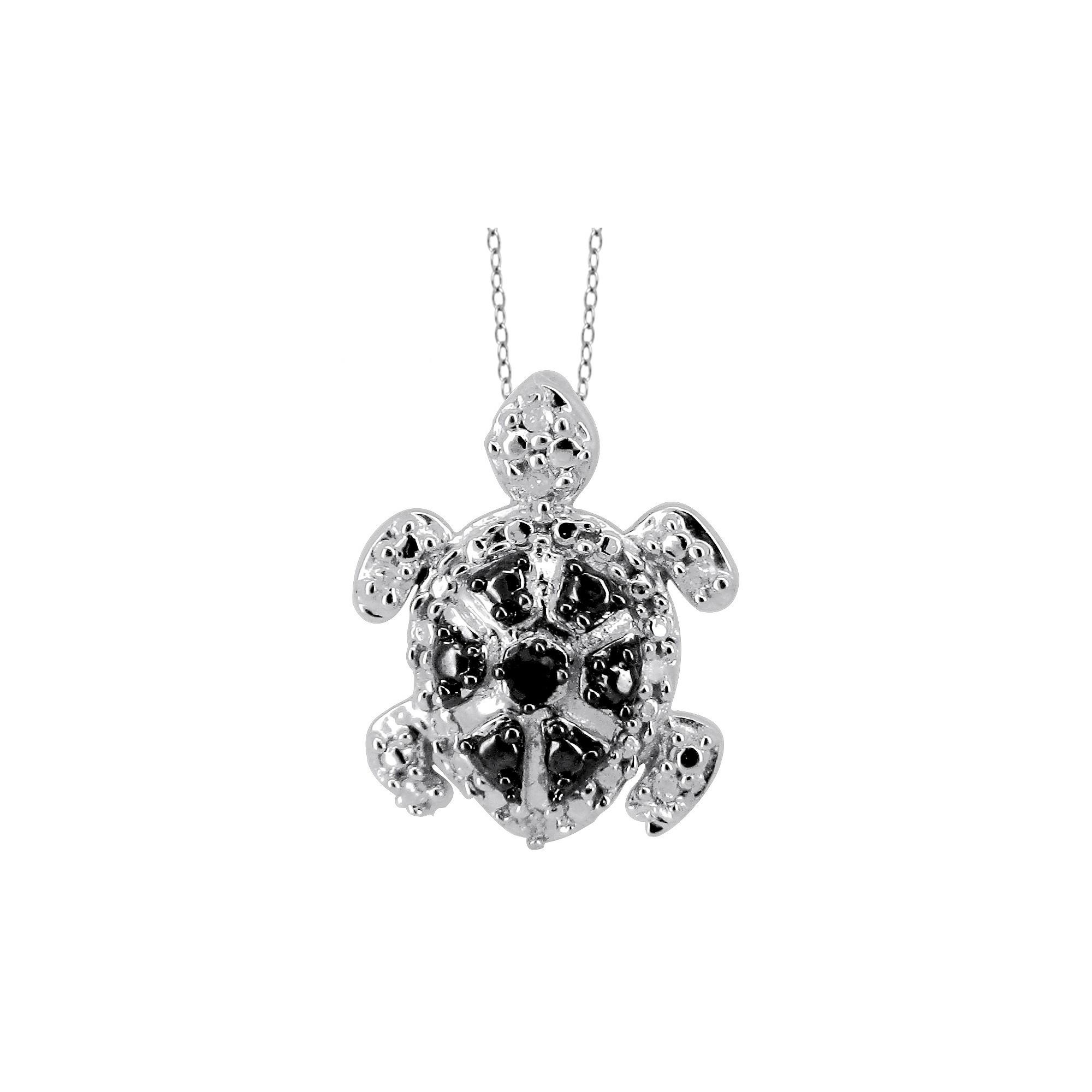 ct tw roundcut black and white diamond prong set turtle