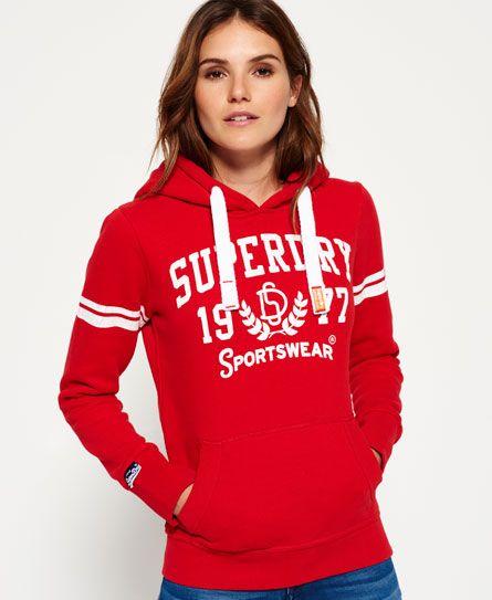 Superdry Hoodies Superdry Orange Label Hoodie Rich Scarlet