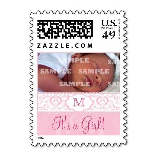 Pink Damask Monogram Baby Postage