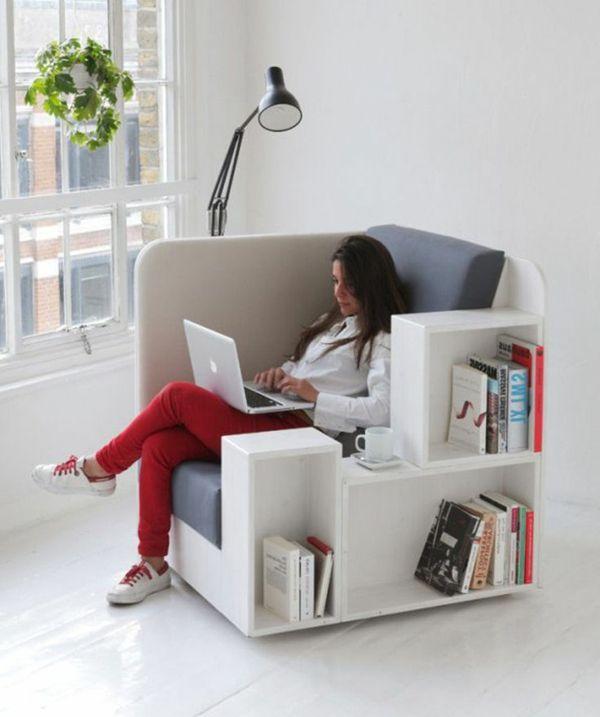 Good Einfache Dekoration Und Mobel Die Heimbibliothek Mit Dem Gewissen Extra #11: Weißes Sessel Mit Bücherregale