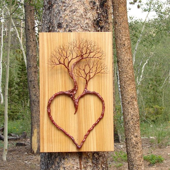 Wire Tree Of Life Heart sculpture, Family of Three, Cedar Wood ...