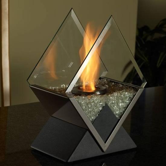Diamond Tabletop Fireplace Indoor Outdoor Decor Bio Ethanol