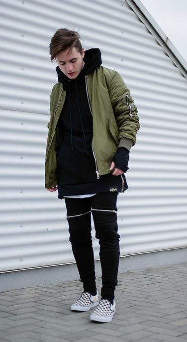 5002e7a9539 green bomber jacket with black hoodie and joggers