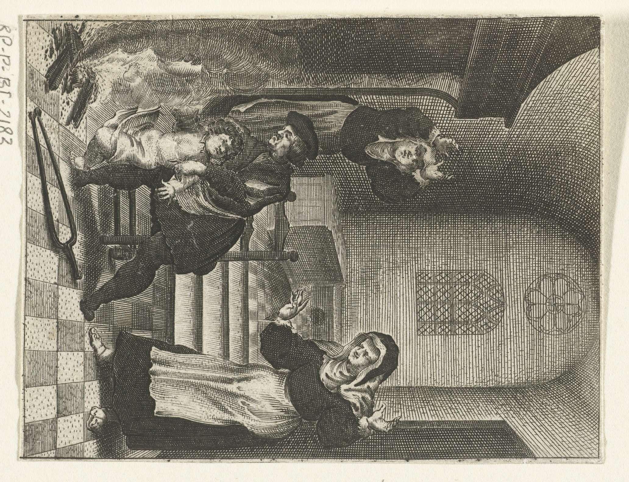 Boëtius Adamsz. Bolswert   Kind valt van zijn vaders schoot in het vuur, Boëtius Adamsz. Bolswert, Anonymous, Jacob Cornelisz van Oostsanen, 1639 - 1689  