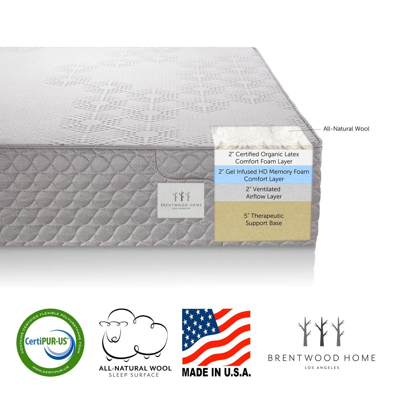 Amazon Com Brentwood Home 13 Inch Gel Hd Memory Foam Mattress Made In Usa Certipur Us 25 Yea Memory Foam Mattress Gel Memory Foam Mattress Gel Memory Foam