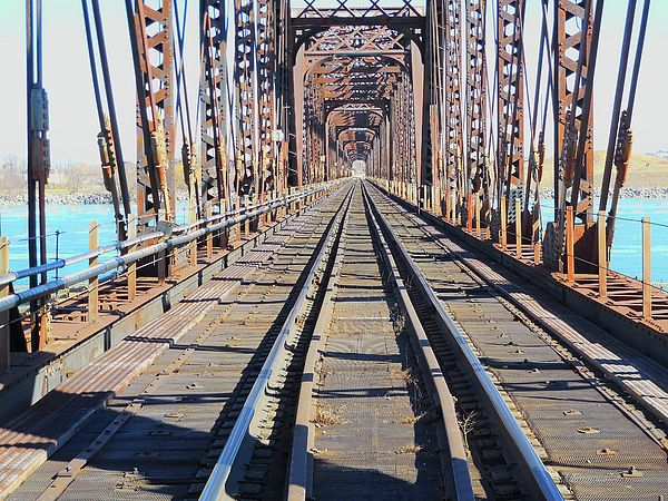 'Open Air Tunnel Railway Bridge to United States' by
