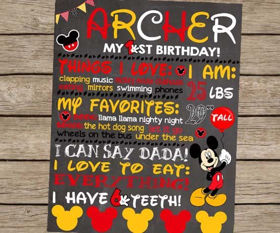 Mickey Mouse First Birthday Board First Birthday Chalkboard