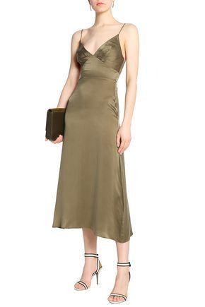 Zimmermann Woman Asymmetric Gathered Washed Silk-satin Dress Black Size 3 Zimmermann KvLSYSv