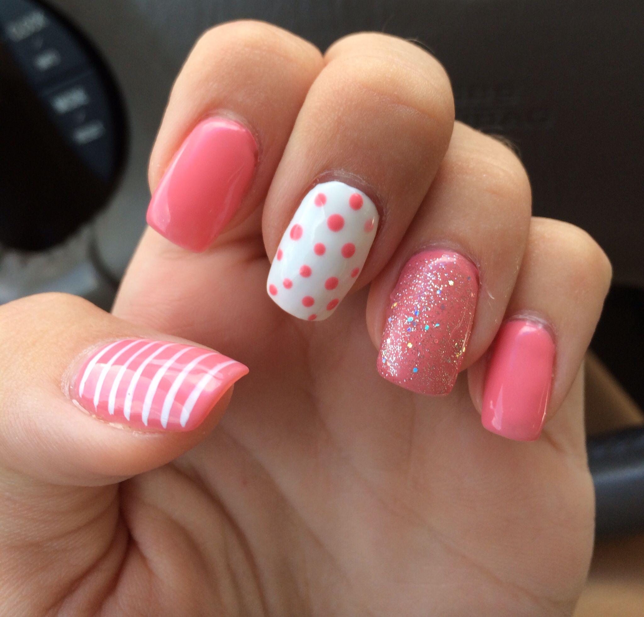 Summer Nails 2014 Gel Pink Polka Dots Sparkles Stripes Nails Summer Nails 2014 Nail Designs