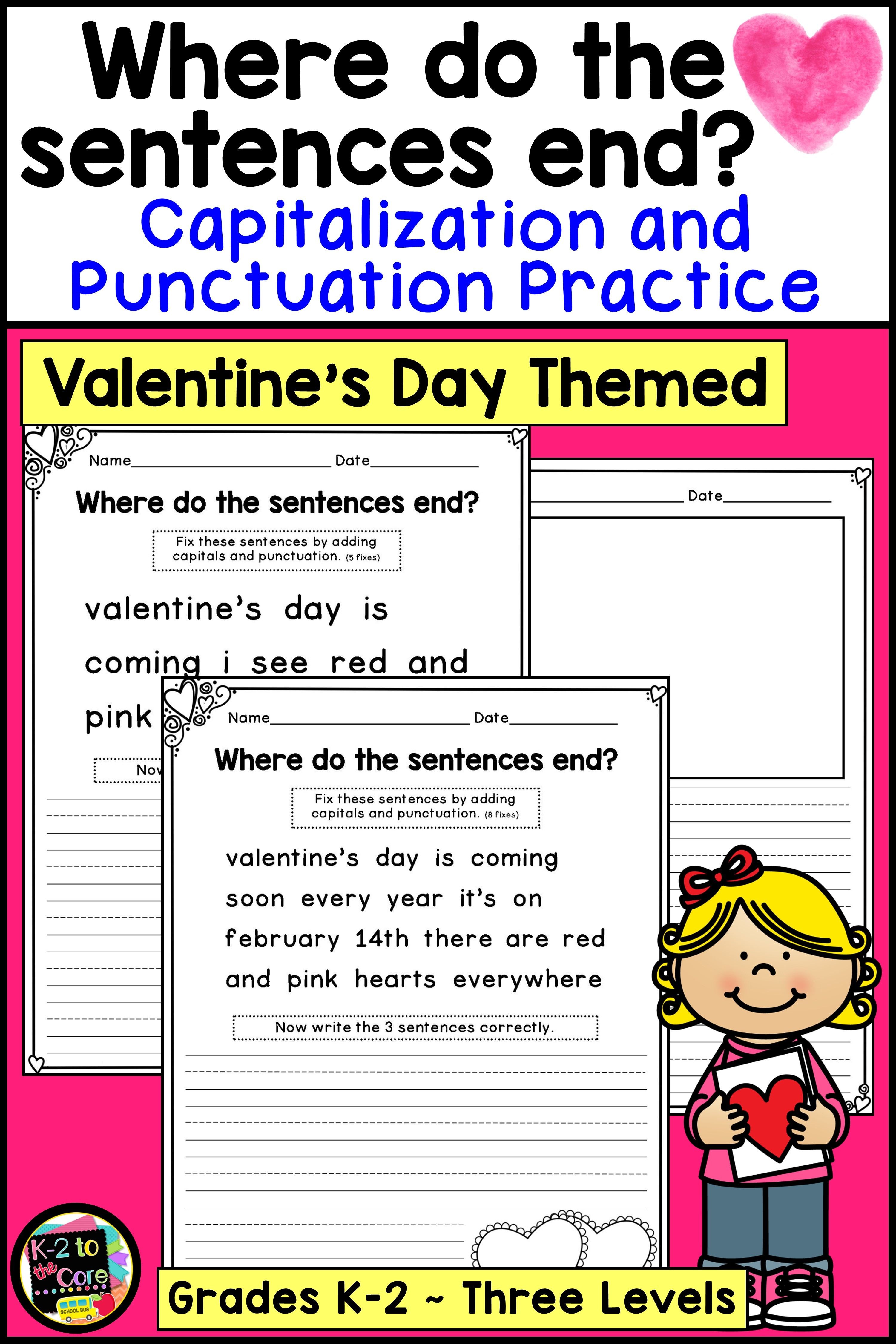 Valentines Day Writing Capitalization And Punctuation