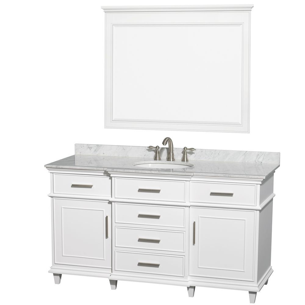 Berkeley 60 Inch W Vanity White With Marble Top In Carrara White