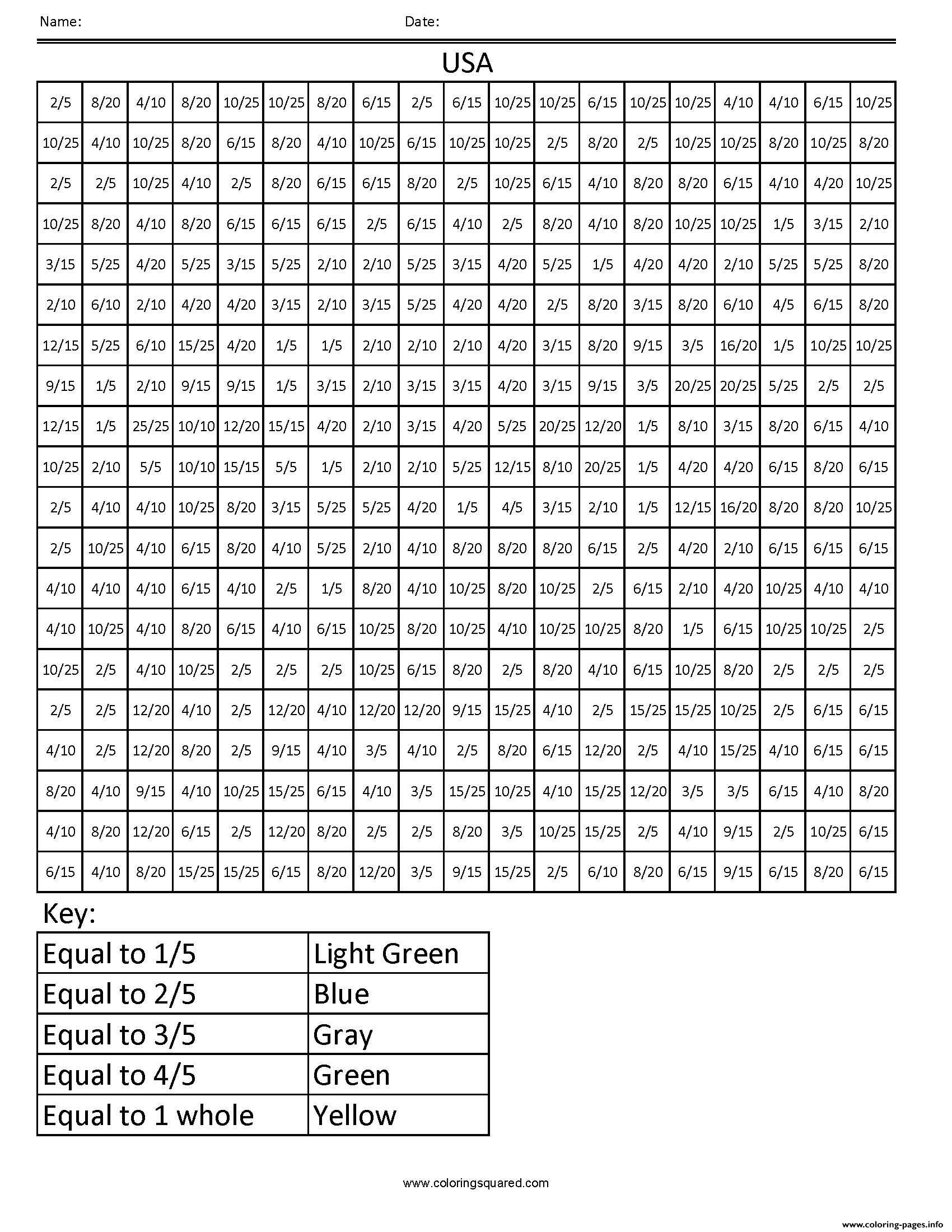 medium resolution of Print USA common core coloring fractions decimal percent math pixel art coloring  pages   Math coloring worksheets