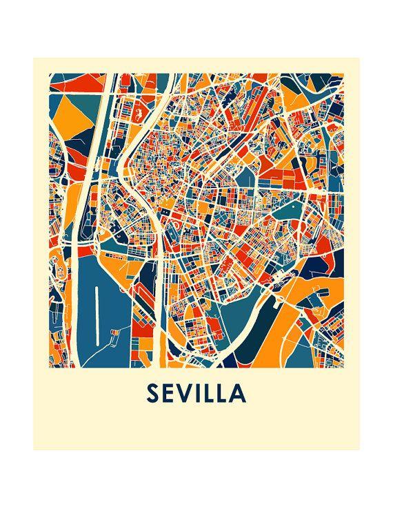 Mappa di Sevilla stampa - Poster mappa colore pieno #preguntassevilla