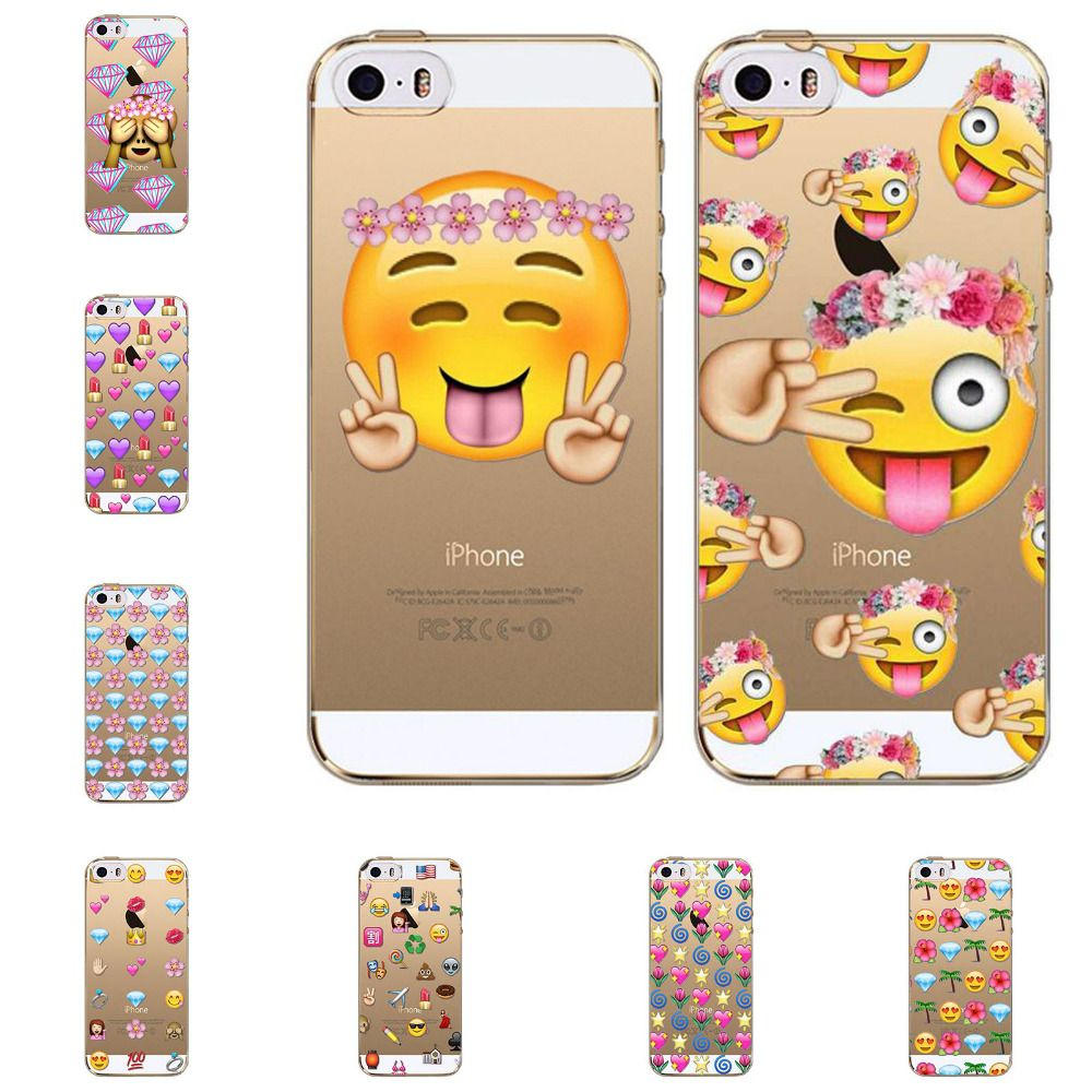 Gut bekannt Clear TPU Funny Monkey Emoji Case For iphone 5 5s SE fundas capa  ZI06