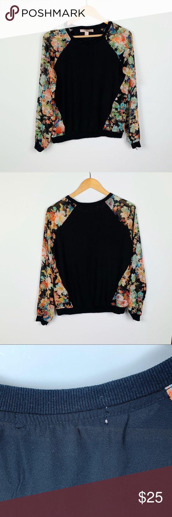 Forever 21 Black Floral Crewneck Size M With Images Clothes