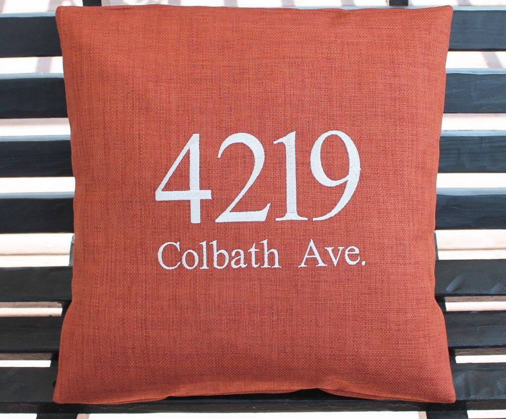 Monogrammed Outdoor Address Pillow Cover in Burnt Orange | House ...