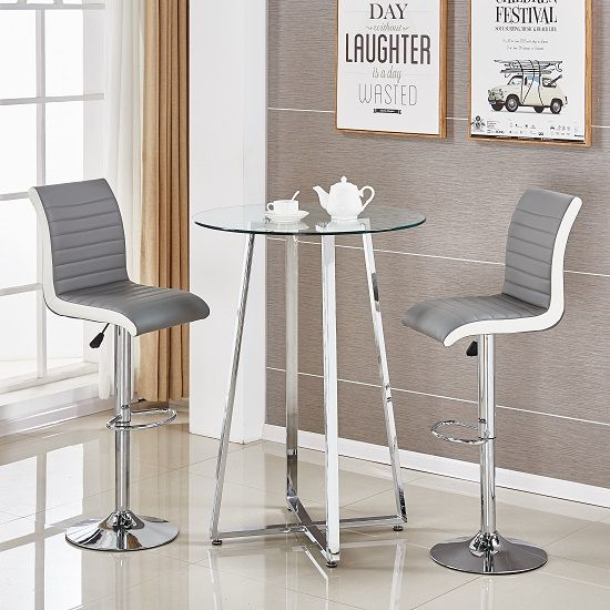 Poseur Glass Top Bar Table With 2 Ritz Bar Stools In Grey And White Faux  Leather