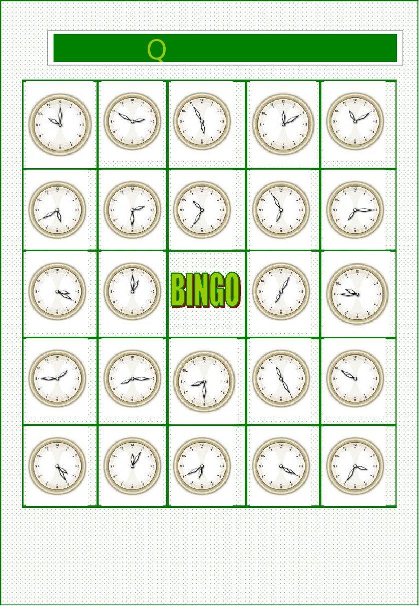 Bingo Que Hora Es Actividades Para Clase De Espanol