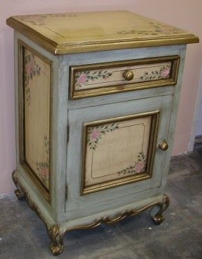Superior Nightstand Accent Table Hand Painted In Olinda Romaniu0027s Pink Roses Design.  19 X X 29 Sage Green With Cream Colored Panels.