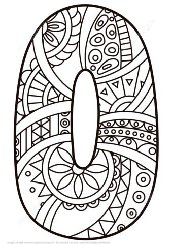 Número 0 Zentangle Dibujo para colorear. Categorías: Números ...