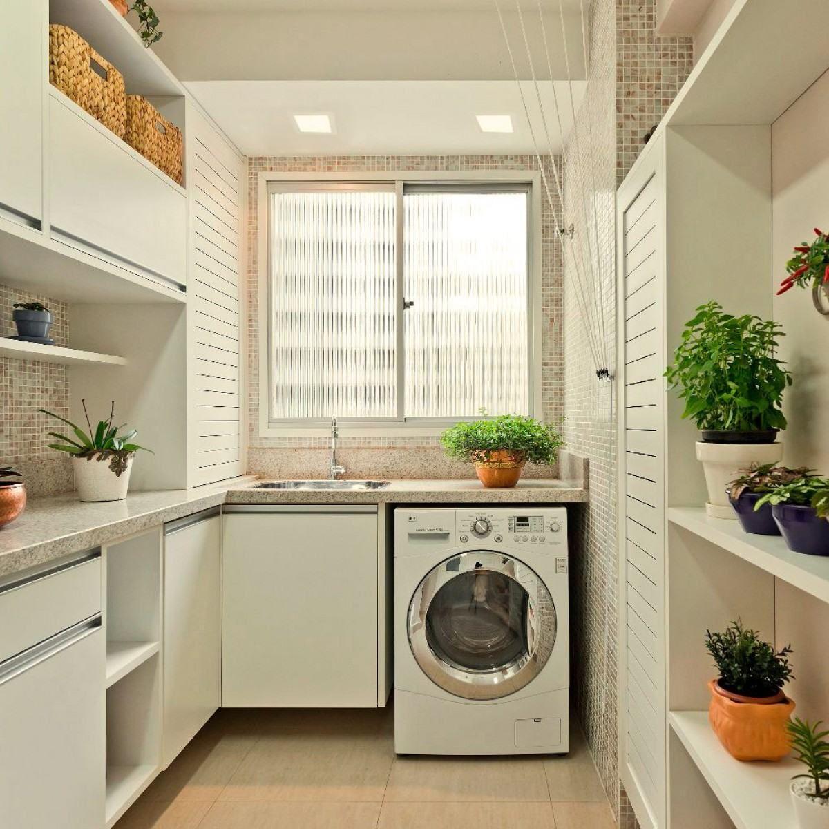 Lavanderia Pequena 60 Dicas e Inspirações para Organizar Móveis casaÁrea de serviço