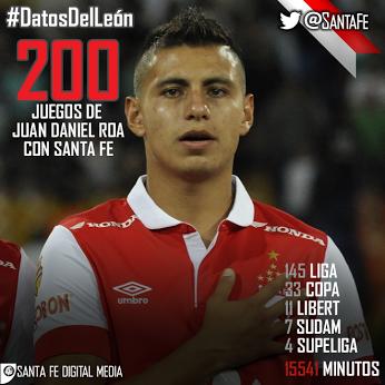 RT @SantaFe: #DatosDelLeón Hoy será el juego 200 de @juand_roa con la camiseta cardenal. LEÓN DE CORAZÓN! http://t.co/yh5N5gw67H