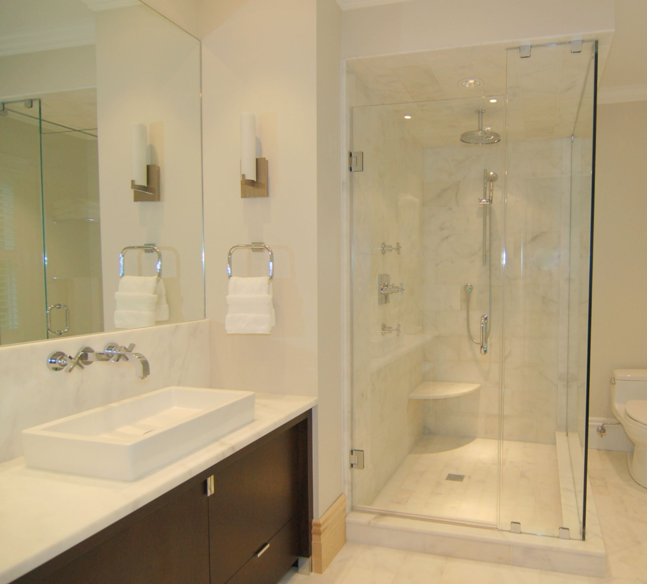 Bathroom shower doors frameless - Cost For Frameless Glass Shower Doors For Contemporary Small Bathroom Design With Large Mirror Design