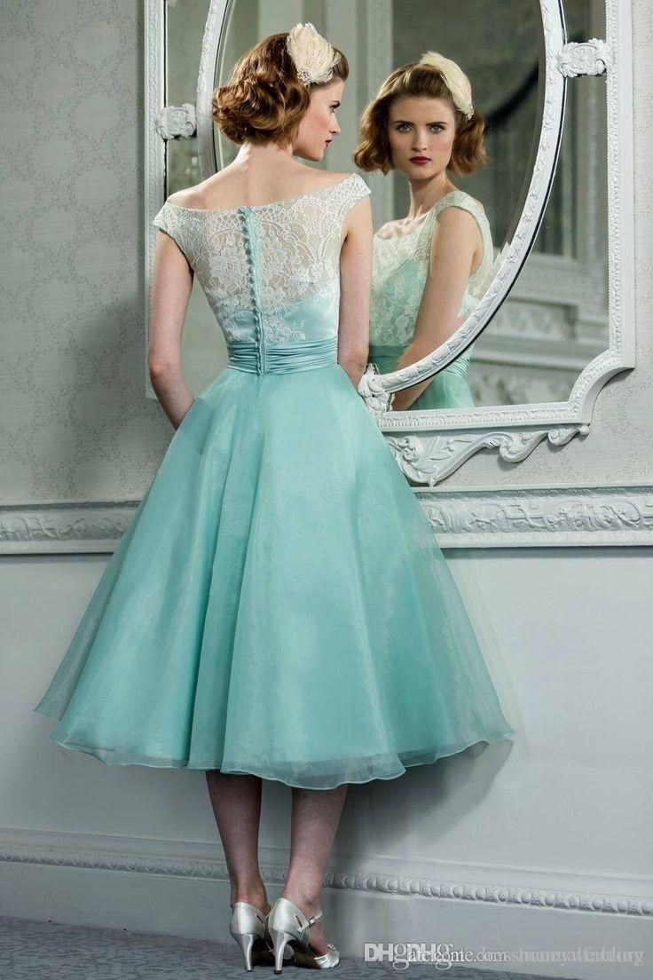 cfff0a85bca3 1950 s Vintage Hepburn Tea Length Cocktai Dresses Off Shoulder Mint Green  Organza A-line Lace Retro Short Prom Dress Party Gowns