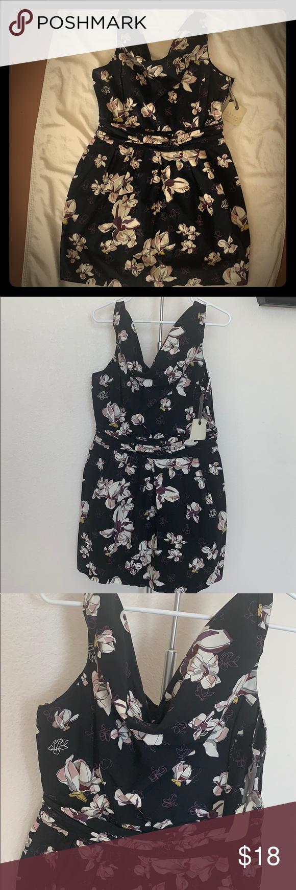 Black Dress With Purple Flowers Cowl Neck Dress Black Dress Belt Style [ 1740 x 580 Pixel ]