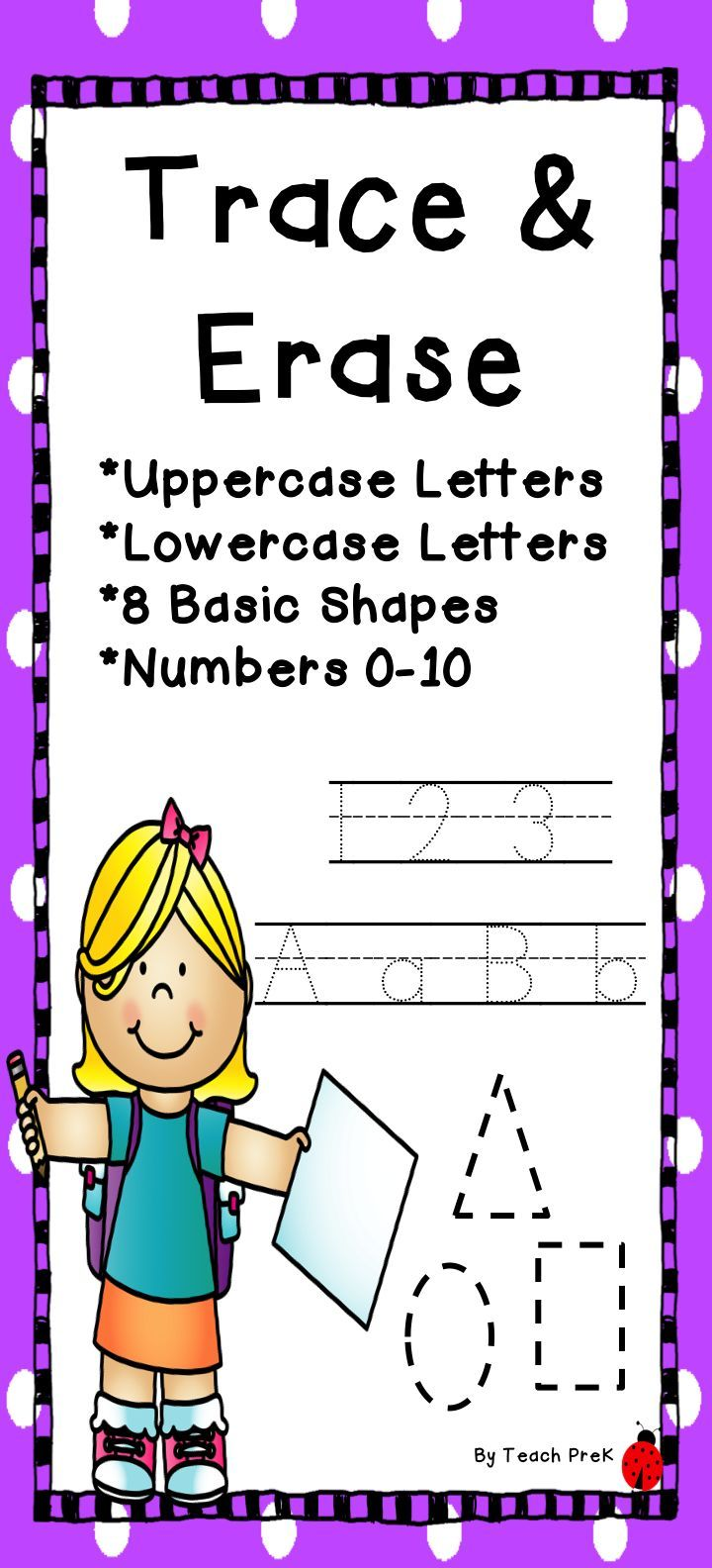 Bright, fun, and developmentally appropriate letter, number, and shape tracing cards. Just print, laminate and cut in half! Use a dry-erase type marker and follow the dotted lines! Just wipe and re-use! Perfect for Kindergarten, PreK, Preschool and homeschool!