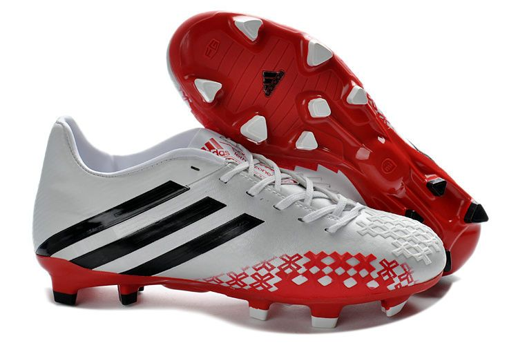 New White Red 2013 adidas Predator FG Soccer Shoes On Sale