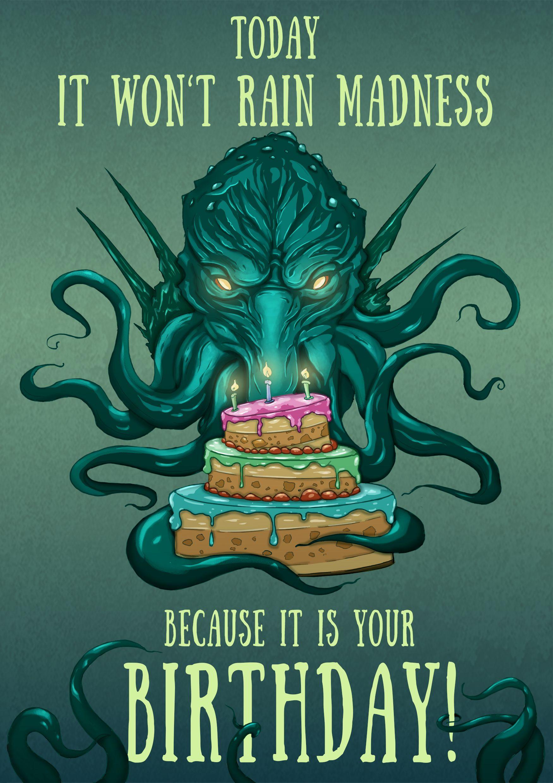 Cthulhu Birthday Card Lovecraft Birthday Card Nerdy Birthday Etsy In 2021 Horror Card Geek Humor Cthulhu